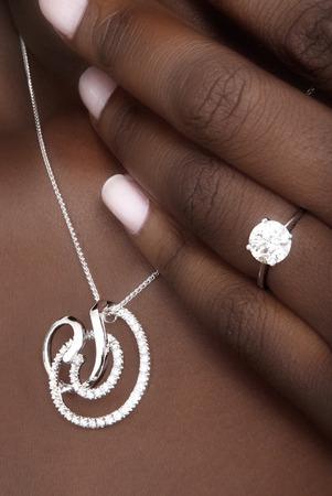 Diamonds Pendant and Ring on Black Skin, Designer Jewellery