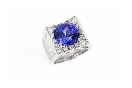 Designer Ring with Diamonds and Tanzanite, Top View, Isolated on White Background photo