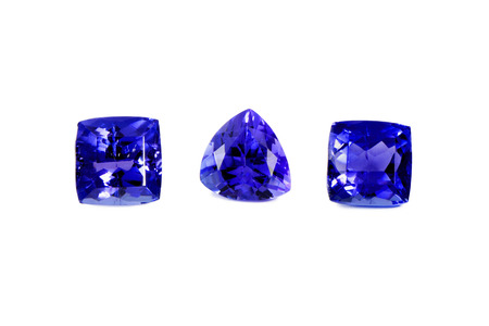 Three Different Tanzanite Stones Isolated on White Background