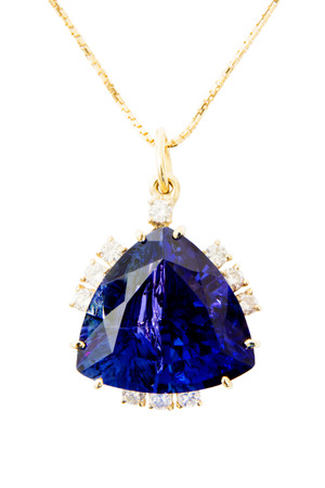 ultramarine: Ladies Pendant with Tanzanite and Diamonds, Isolated on White Background Stock Photo