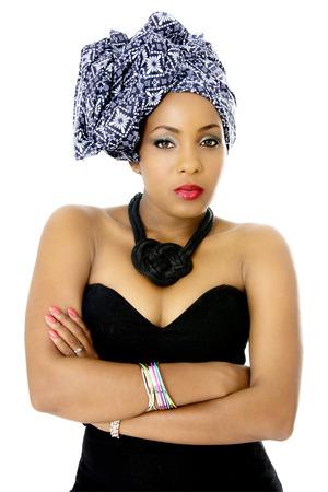 zambian: Female Model wearing Traditional Headdress, Isolated on White Stock Photo