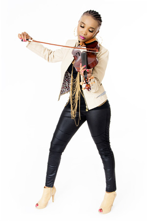 woman violin: Young Beautiful African Woman Playing the Violin, Fashion, Full Length, Studio Shot, Isolated on White Stock Photo
