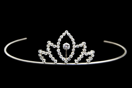 Beautiful Silver Tiara, Decorated with Diamonds, Isolated on Black Background