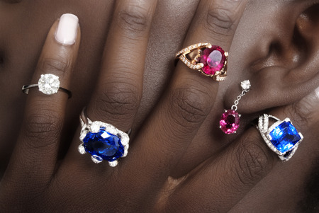 tanzanite: Tanzanite, Rubellite and Diamonds, Designer Jewellery on the Skin of a Black Lady