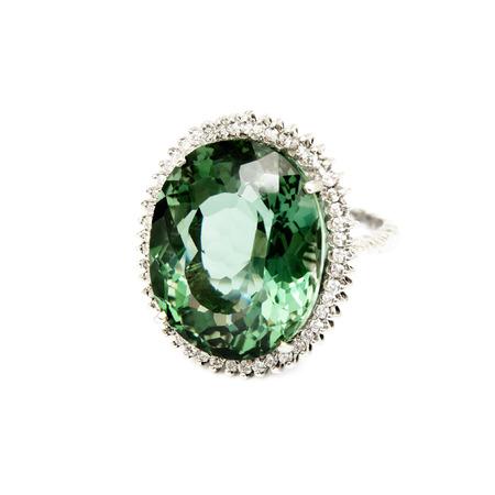semiprecious: Ring - Green Semi-Precious Gemstone with Diamonds,  Isolated on White