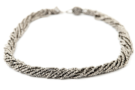 SilverGrey Multistrand Twisted Beaded Neckwear, Traditionally African, Isolated on White Background photo
