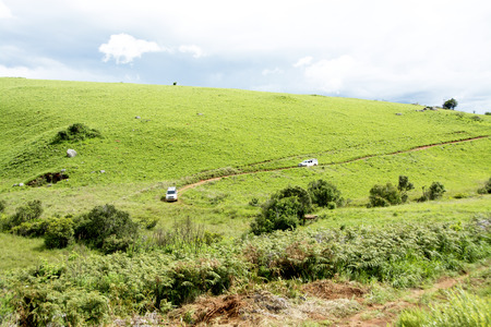 convoy: Two 4x4 Vehicles Traveling in Convoy on Dangerous Dirt Road in Nyika Plateau, Malawi, Africa