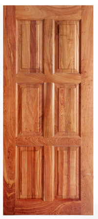 Single Wooden Door Isolated on White Background