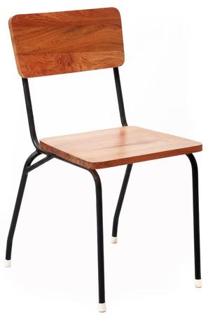 cadeira: Madeira e cadeira de metal isolado no fundo branco