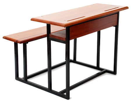Wood and Metal School Desk Isolated on White Background Stock Photo