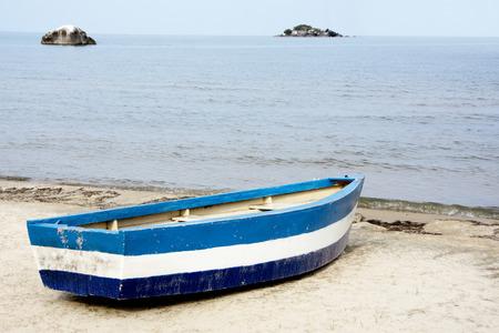 Blue Rowing Boat on the Beach of Lake Malawi, Malawi, Africa