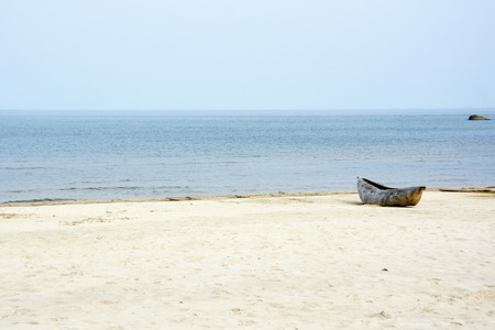 Local, Traditional Mokorokoro (Dhow) on the Beach of Lake Malawi, Malawi, Africa Stock Photo