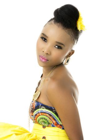 Closeup of Beautiful African Model, Studio Shot Stock Photo