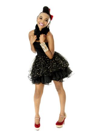 Full-length Studio Photo of Beautiful African Female Model in Modern Black Dress, on White Background photo