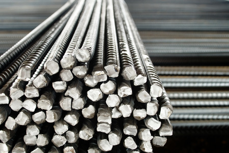 reinforce: Closeup of Steel Rods or Bars, to Reinforce Concrete, Stacked Together