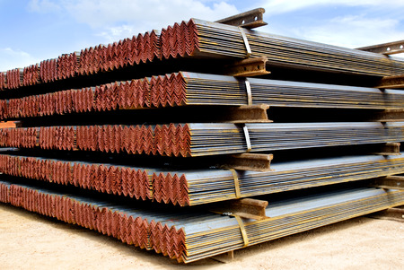 Closeup of Steel Galvanized Angles Bunched Together, Ready for Shipment