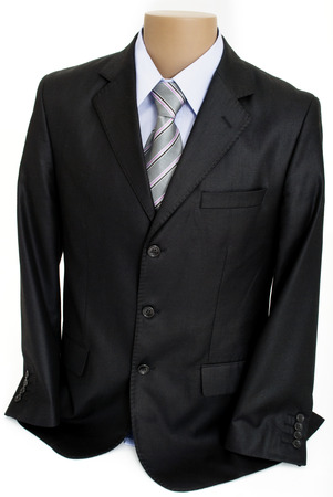 Mannequin with Formal Male Clothes - Black Suit Jacket, Blue Shirt with a Collar, Tie with Grey, Pink, Black and White Stripes Isolated on White Background
