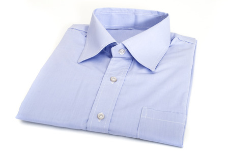 Single Folded and Ironed Male Shirt with a Collar and Buttons, Isolated on White Background Stock Photo
