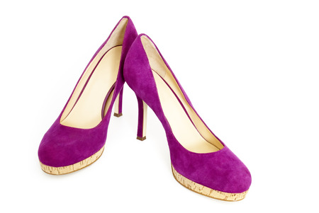 One Pair of Female High Heel Shoes, Purple Suede and Cork Soles, Isolated on White Background Stock Photo