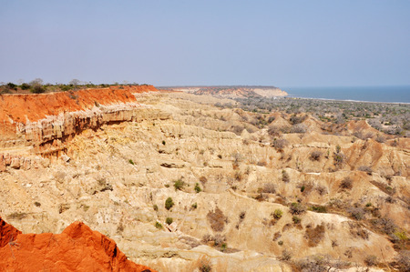 Multi-Colored Desert Landscape along the Coastline of Angola, Southern Africa Stock Photo