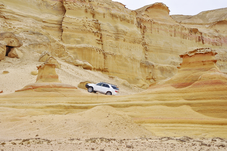 Adventurous Drive Among the Majestic Stoned Sand Formations in the Desert of Angola, Southern Africa Stock Photo