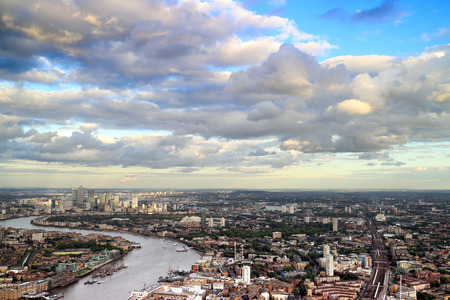 headquaters: East London Cityscape with the River Thames and Canary Wharf in the skyline.
