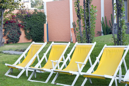 Four bright yellow sun loungers on the lawn in secluded garden . Reklamní fotografie