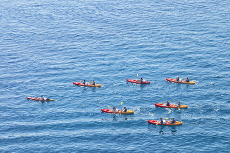 Aerial view of red kayaks in the middle of the sea Reklamní fotografie