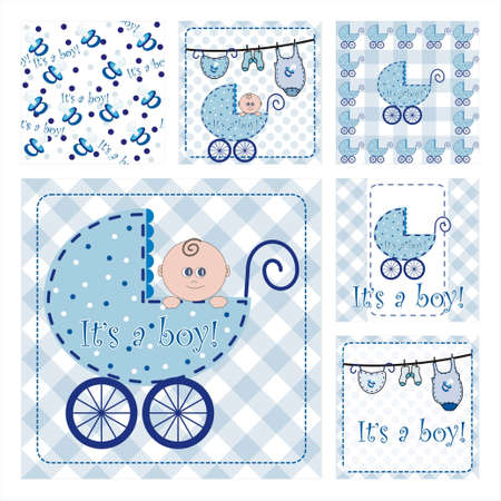 Collection Of Six New Arrival Seamless Pattern.Background texture - part 1 - baby boy Vector