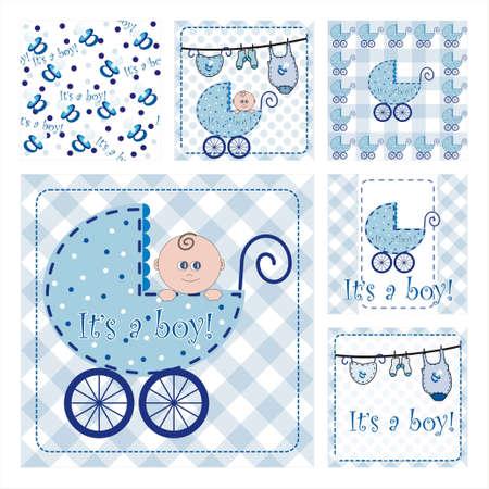 Kolekcja sześciu nowych przyjazdu tekstury Seamless Pattern.Background - część 1 - baby boy
