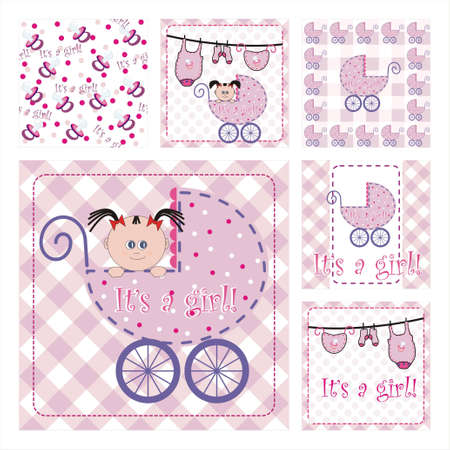 Collection Of Six New Arrival Seamless Pattern.Background texture - part 2 - baby girl Vector