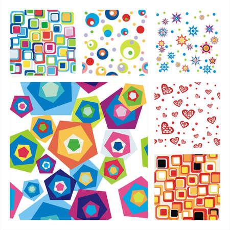 poligonos: Colecci�n de seis Pattern.Background perfecta textura