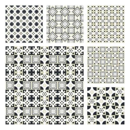 Collection Of Six Seamless Pattern.Background texture Vector