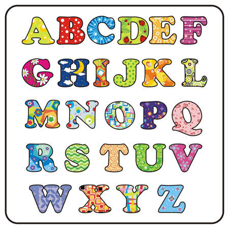 english: Colorful Alphabet Illustration