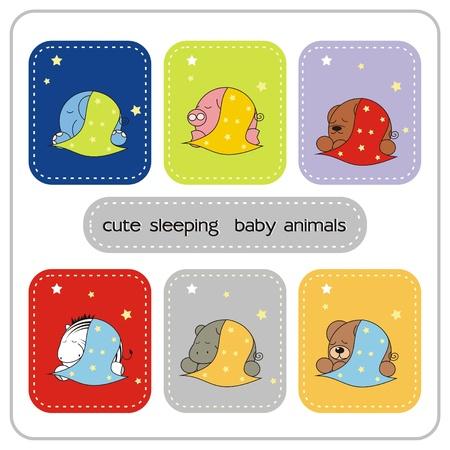cute sleeping baby animals Vector