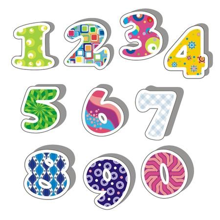 handwrite: Illustration -  Colorful numbers