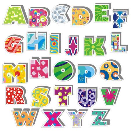 tipos de letras: Ilustraci�n - Alfabeto de colores