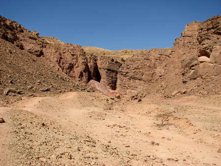 arava: Hidden valley ( Ge Avud) is narrow canyon from red sandstone in Arava desert. Eilat mountains.Israel.
