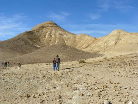 judean desert: Hiking in Wadi Zeelim. Judean Desert - a desert in the Middle East, located on the territory of Israel, on the west coast of the Dead Sea.
