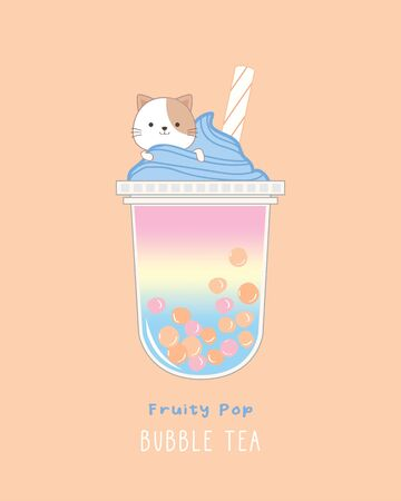 Fruity Pop Bubble Tea, cute illustration Illustration