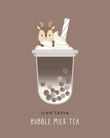 Iced Latte Bubble Milk , cute illustration Illustration