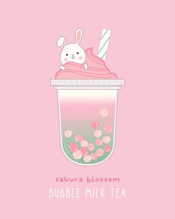 Sakura Blossom Bubble Milk Tea, cute illustration