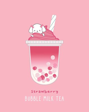 Strawberry Bubble Milk Tea , cute illustration Illustration