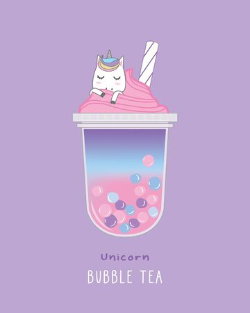 Unicorn Bubble Tea , cute illustration