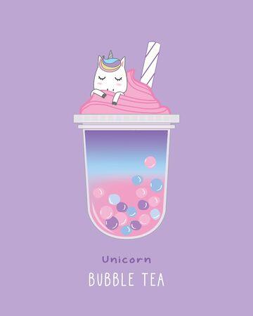 Unicorn Bubble Tea , cute illustration Stockfoto - 132216128