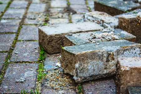 Paving stone for repair sidewalk in a park. Stock Photo