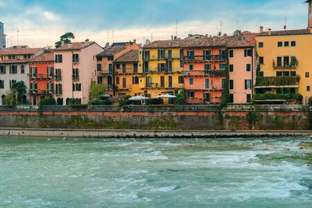 Cityscape of Verona with river Adige. Historical center of European city. Romantic sightseeng trip to Italy
