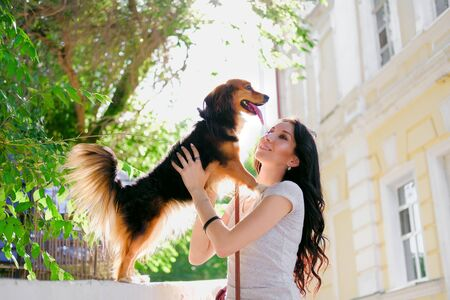 Sunny portrait of Brunette woman and her dog in backlight. Funny spaniel mutt in summer city. 版權商用圖片
