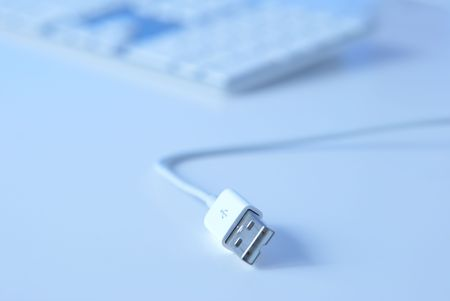 keywords link: white USB cable isolated over white background
