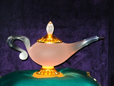 Lamp of Aladdin in illuminated glass photo